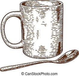 jarra, ilustración, cuchara