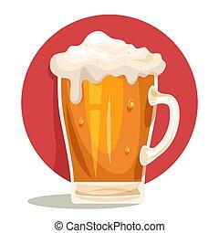jarra, luz, vidrio, espuma, drink., cerveza, vendimia, grande