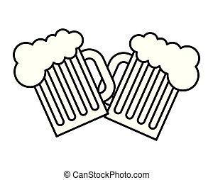 jarrade cerveza, tostada, celebración, bebida