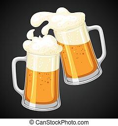jarras, con, luz, cerveza, y, froth., ilustración, para,...