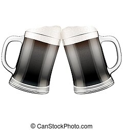 jarras, dos, ilustración, oscuridad, cerveza, vector, clink.