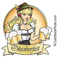 jarras, sujetar, cerveza, niña bonita