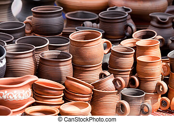 jarras, terracota, recuerdos, calle, artesanía, mercado, ...
