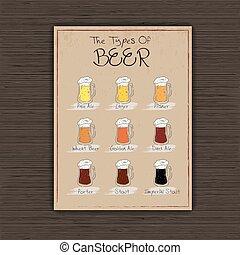 jarras, vector, papel, beer., hoja, ilustración, vendimia, ...