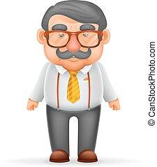 jarretels, brillen, karakter, vrijstaand, illustratie, geek, realistisch, vector, ontwerp, volwassene, zakenman, hipster, man, spotprent, mustache, 3d