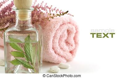 jarro, com, fresco, folhas, e, toalha