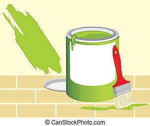 jarro, com, um, pintura escova