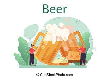 jarro de cerveza, botella, vendimia, arte, vidrio, concept., alcohol