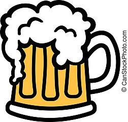 jarro de cerveza, caricatura, con, espuma