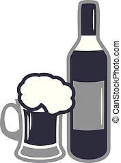 jarro de cerveza, diseño, bottle., vino, icono