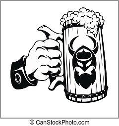 jarro de cerveza, en, mano