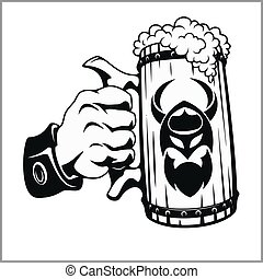 jarro de cerveza, mano
