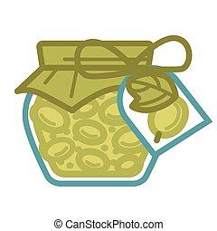 jarro, de, enlatado, azeitonas, com, pimenta, cobertura, e, tag
