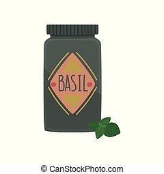 jarro, de, manjericão, tempero, erva, elemento, para, restaurante, ou, cozinha, menu, desenho, caricatura, vetorial, ilustração