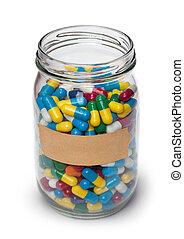 jarro, de, pílulas felizes