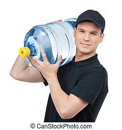 jarro del agua, aislado, joven, deliveryman, alegre, mientras, tenencia, blanco, delivery.