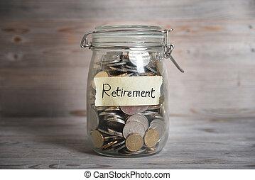 jarro dinheiro, com, aposentadoria, label.