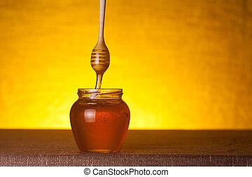 jarro mel, madeira, mergulhador