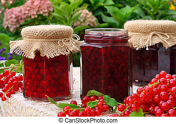 jarros, caseiro, groselha vermelha, geleia, com, frutas...