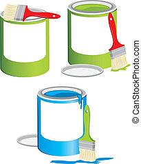 jarros, com, um, pintura, e, escovas