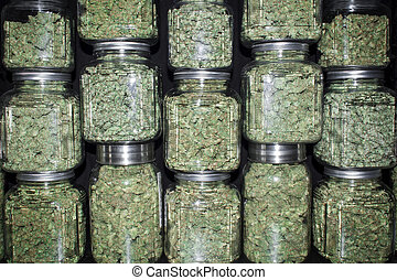 A wall of glass jars with metal lids filled with with green marijuana buds and black background