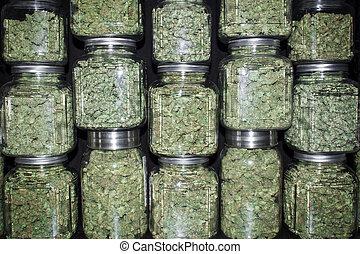 Jars Filled with Marijuana Buds - A wall of glass jars with...