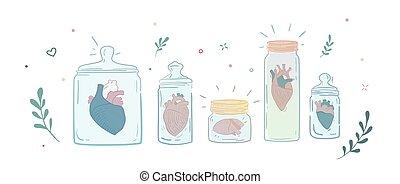 jars., hommes, cœurs, collection, verre