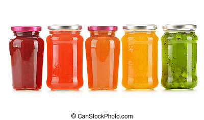 Jars of fruity jams isolated on white background. Preserved ...