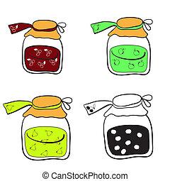 jars of jam - glass jars with apple jam, pear jam and cherry...