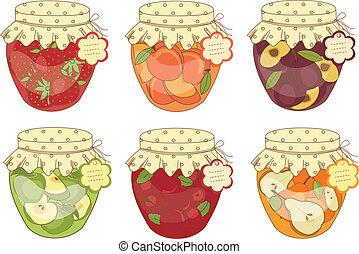 Jars of jam - Set jars of jam isolated over white