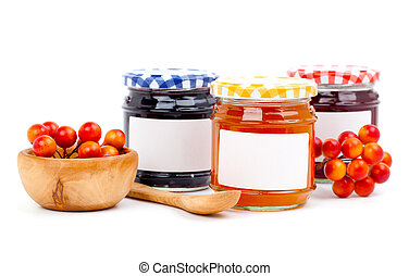 jars of marmalade with berry, isolated on white background