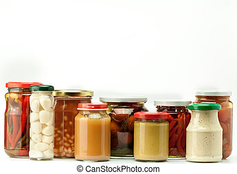 preserved food - jars of preserved food isolated on white