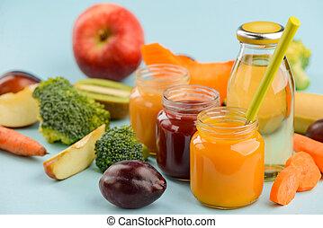 Jars of puree, juice, veggies and fruits