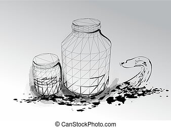 jars on gray background