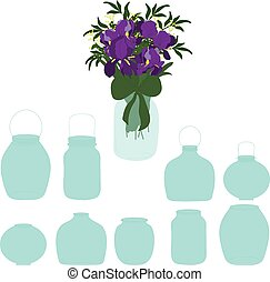 Jars set, bouquet of irises in a jar, vector illustration