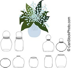 Jars set, bouquet of lilies the valley in jar, vector...