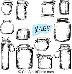 Jars. Set of illustrations - Jars. Set of hand drawn...