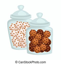 Jars with cookies or candies of chocolate or glaze confectionery products
