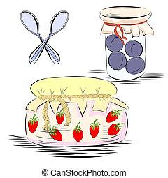 Jars with fruit jam