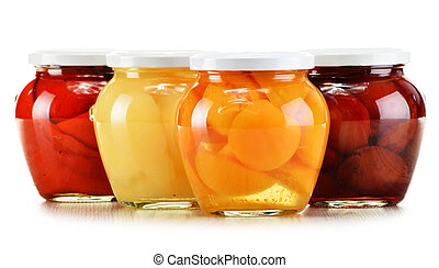 Jars with fruity compotes isolated on white. Preserved...