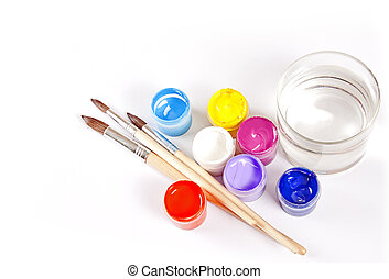 Jars with gouache and paint brushes on a white background.
