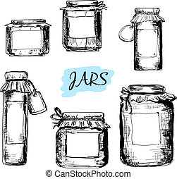 Jars with labels. Set of hand drawn illustrations