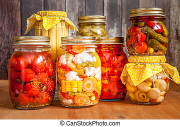 Jars with marinated vegetables