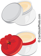 Jars with moisturizer isolated on the white. Vector...