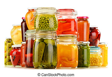 Jars with pickled vegetables, fruity compotes and jams ...