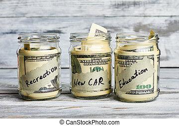 Jars with US dollars.