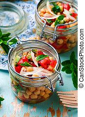jar..style, 昼食, ヒヨコマメ, rustic., サラダ