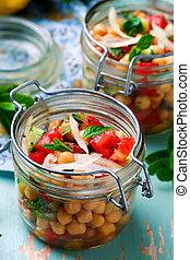 jar..style, almoço, grão-de-bico, rustic., salada