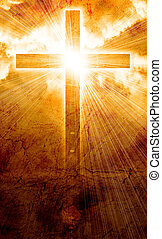 jarzący się, krzyż, w, niebo