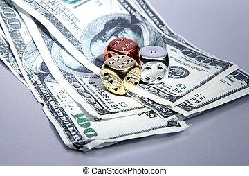 jarzyna pokrajana w kostkę, dolary, pieniądze, ryzyko